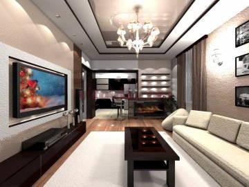 Нестандартный дизайн интерьера в гостинной 1