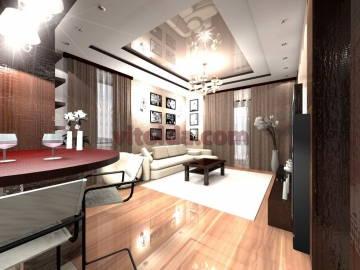 Нестандартный дизайн интерьера в гостинной 2