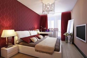 Дизайн красной спальни -1